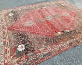 Terrific Turkish Oriental Handknotted 7 39 8 quot x8 39 5 quot Antique Oushak Rug,Mid Century Modern One of A kind Square Large Vintage Rug,Persian Rug