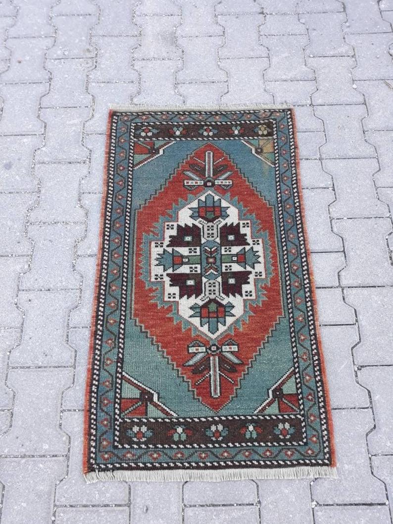 Cotton Rug 3/'3 x 1/'9ft Kilim Turkish Vintage Oushak Small Rug Yast\u0131k Handmade Kilim Welcome Rug Doormat Rustic Rug Mini Decor Rug