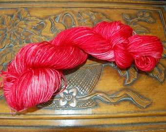 Poinsettia-hand dyed BFL sock yarn