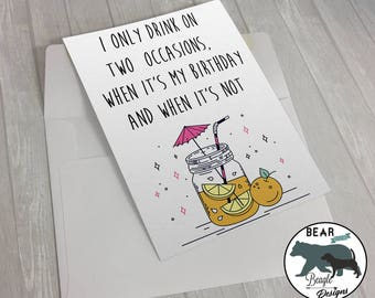 Funny Drinking Card Greeting Cartoon Unique Cards Happy Birthday Alcohol