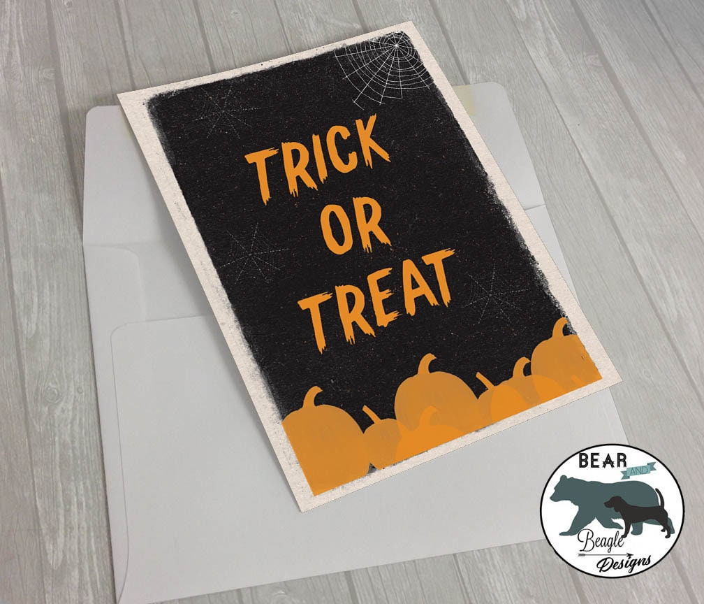 Happy Halloween Trick or Treat pumpkin greeting card