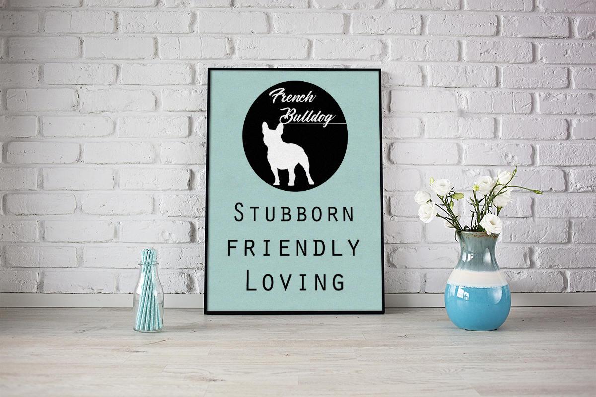 French Bulldog dog Art Print BLUE OR PINK
