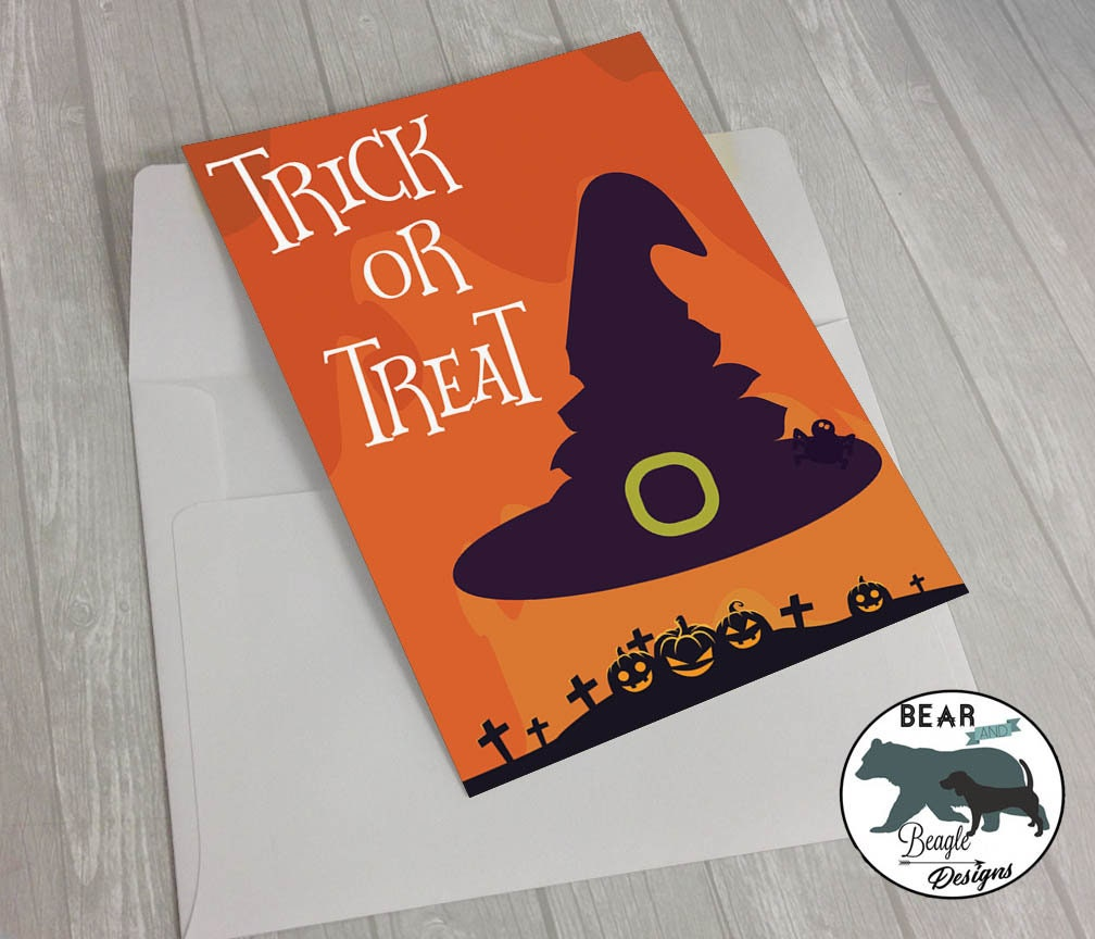 Happy Halloween Trick or Treat Witch greeting card