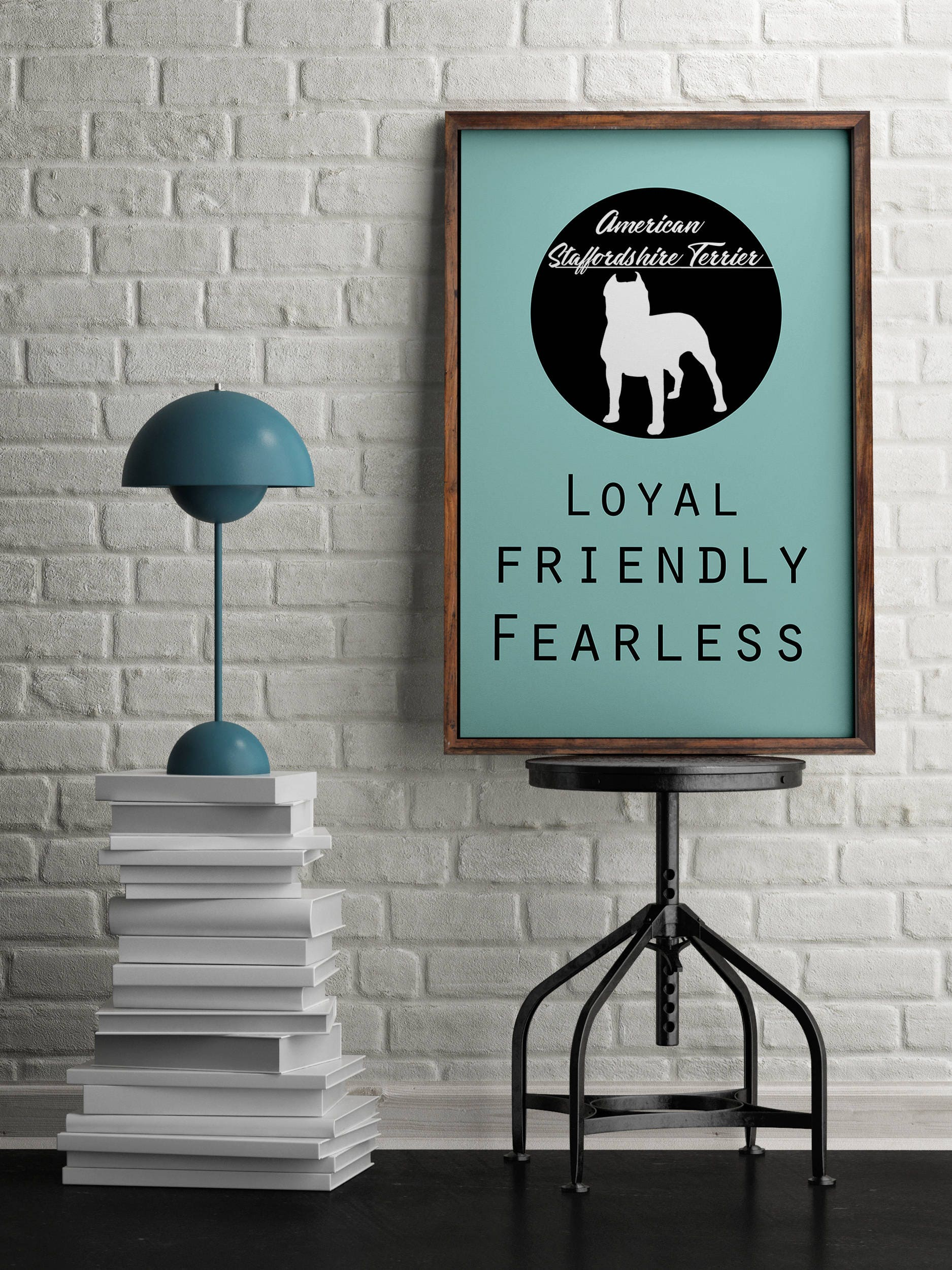 Staffordshire terrier dog dog Art Print BLUE OR PINK