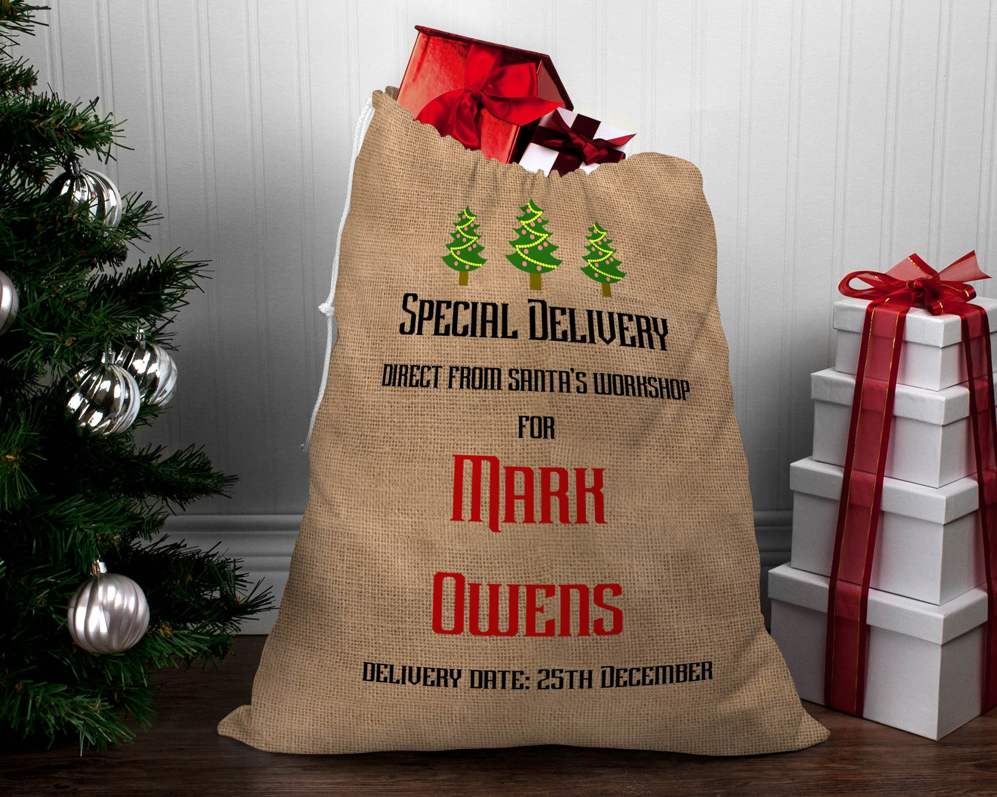 LARGE Personalized Hessian Santa Sack CUSTOM NAME