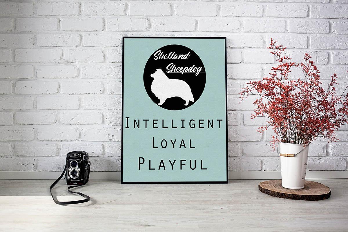Shetland Sheepdog dog Art Print BLUE OR PINK