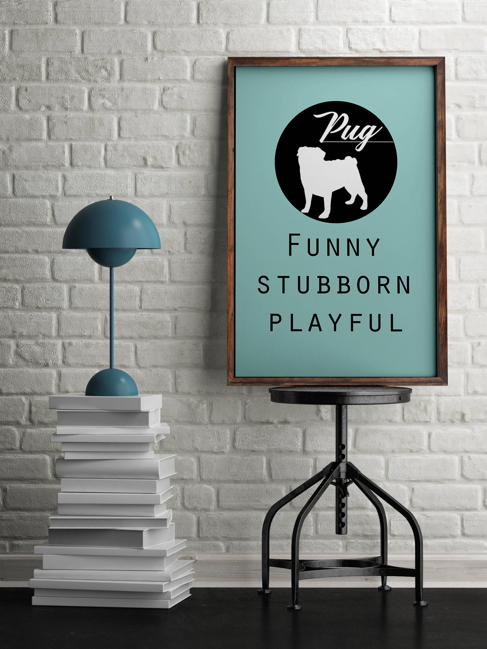Pug dog Art Print BLUE OR PINK