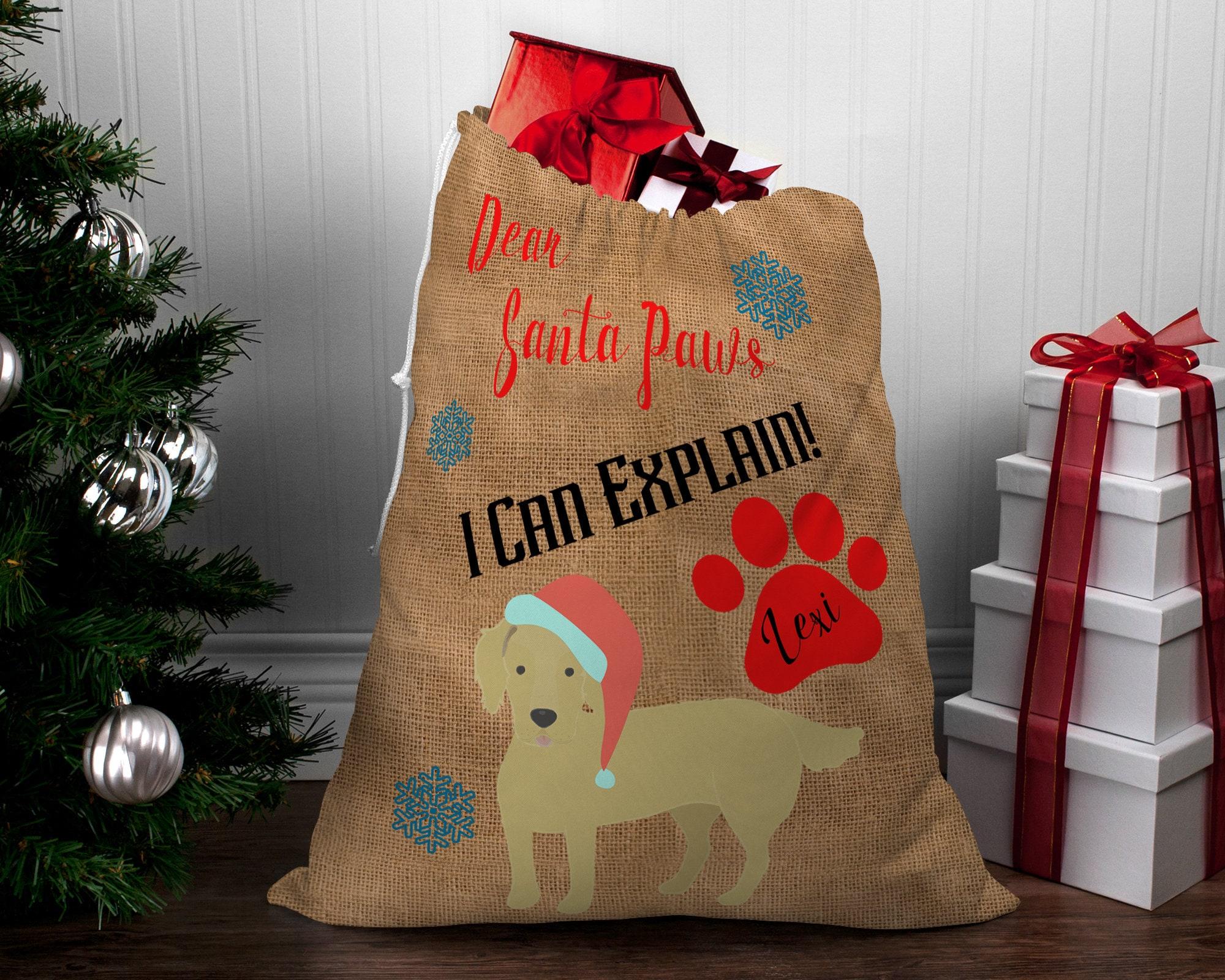 LARGE Personalized Hessian Santa Paws Sack CUSTOM NAME -