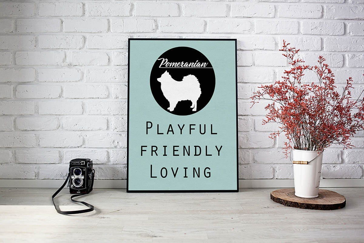 Pomeranian dog dog Art Print BLUE OR PINK