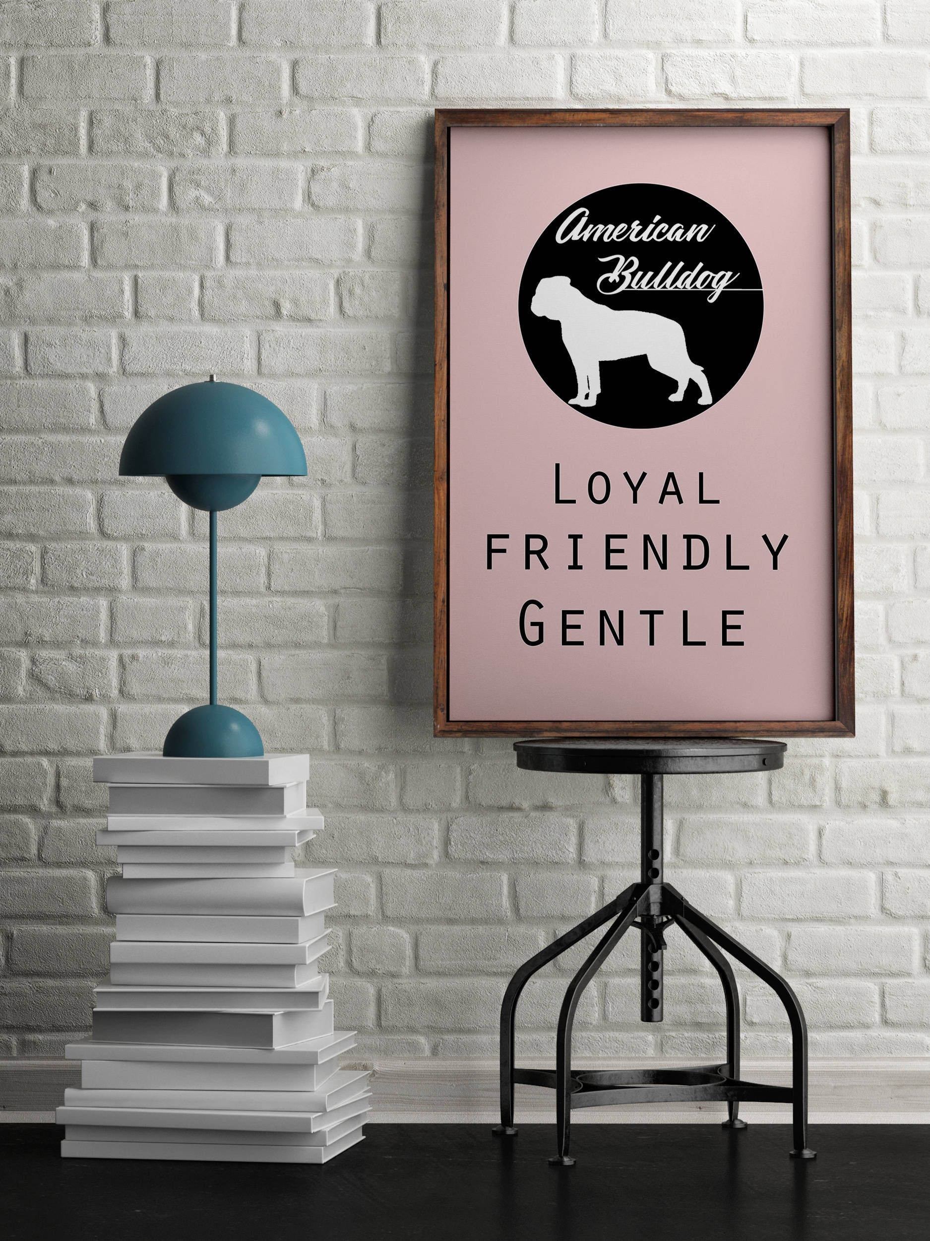 American Bulldog dog Art Print BLUE OR PINK