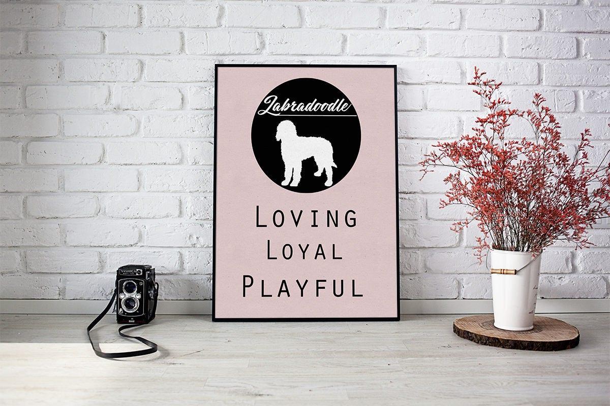 Labradoodle dog Art Print BLUE OR PINK