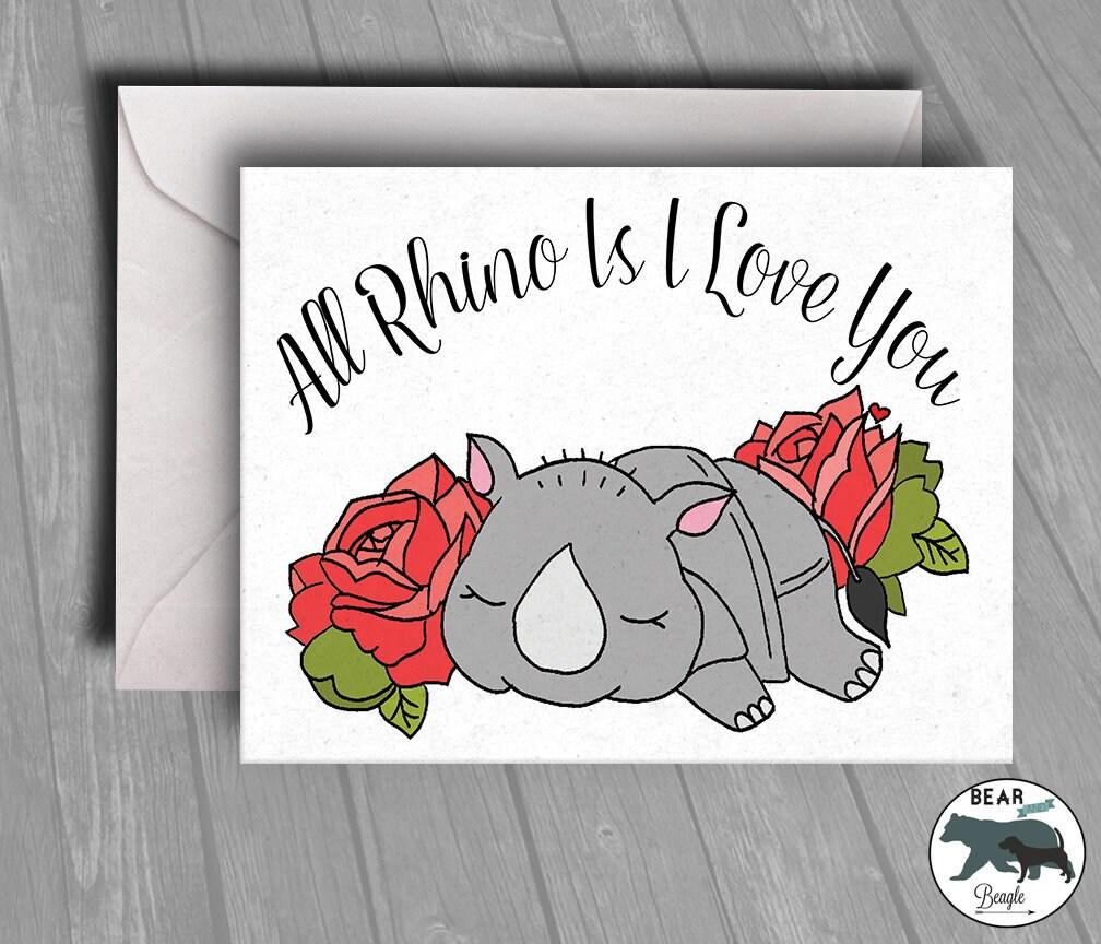 Valentine Card - Rhino is i love you