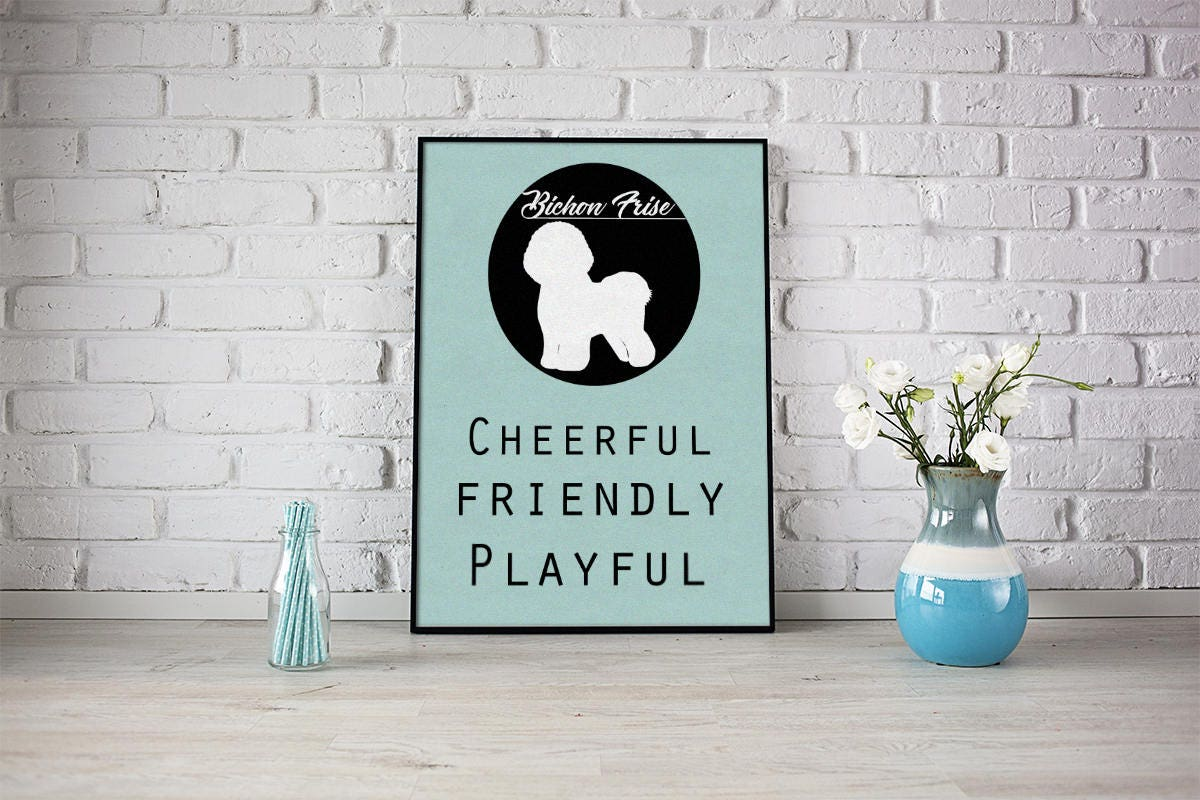 Bichon Frise dog Art Print BLUE OR PINK