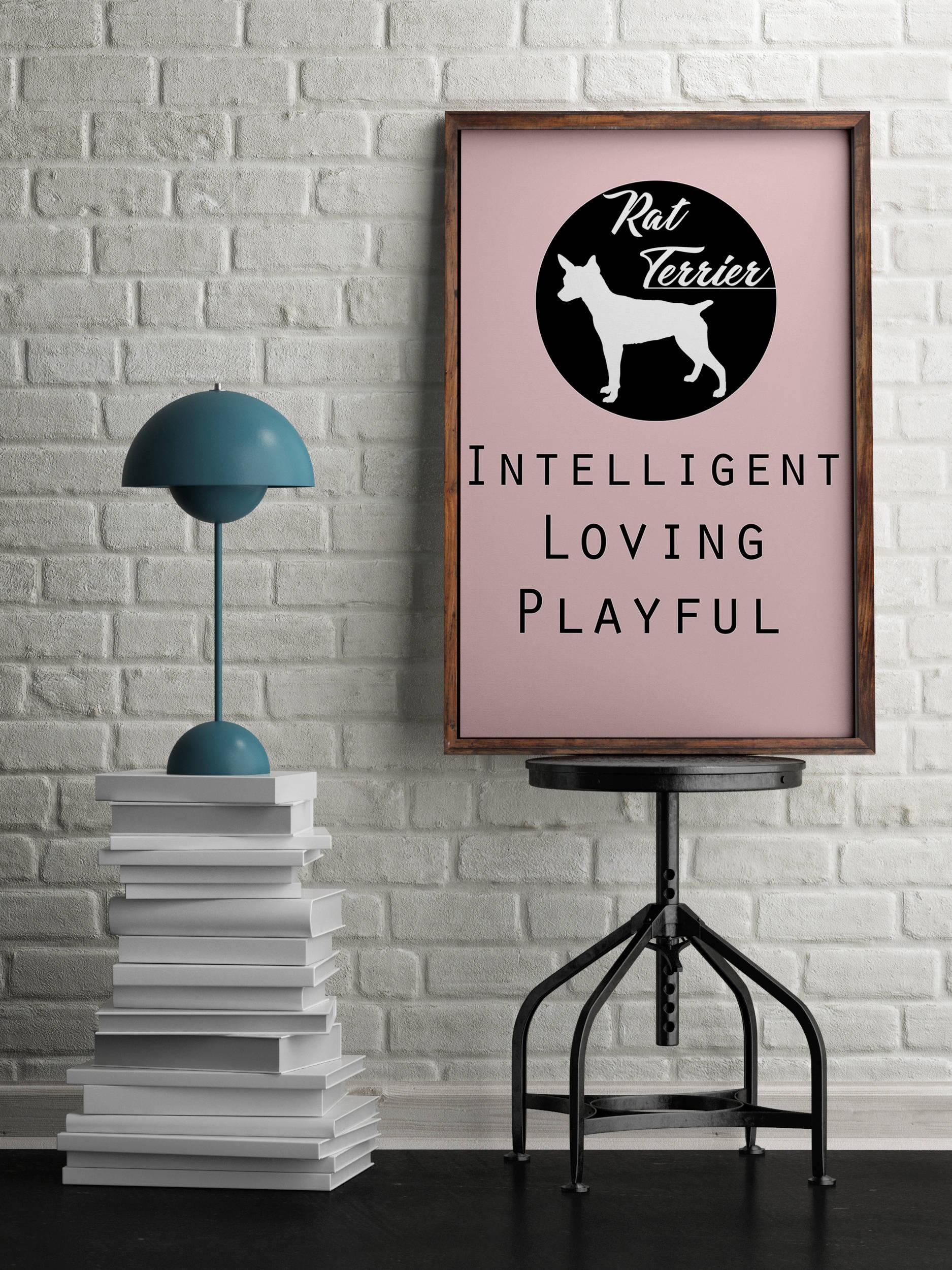 Rat Terrier dog Art Print BLUE OR PINK