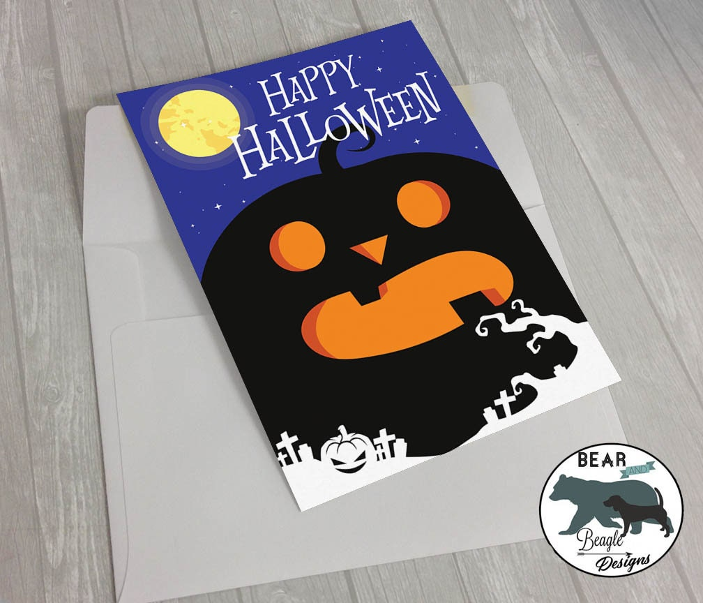 Happy Halloween pumpkin greeting card
