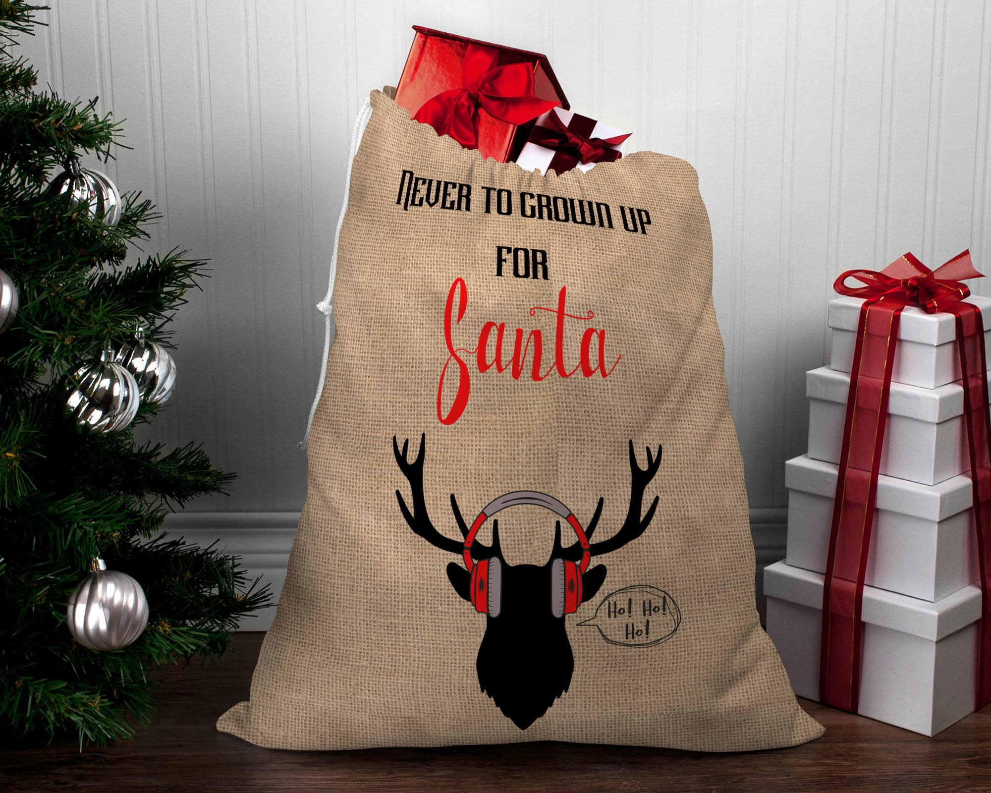 LARGE Hessian Santa Sack - Never too Grown up for Santa!