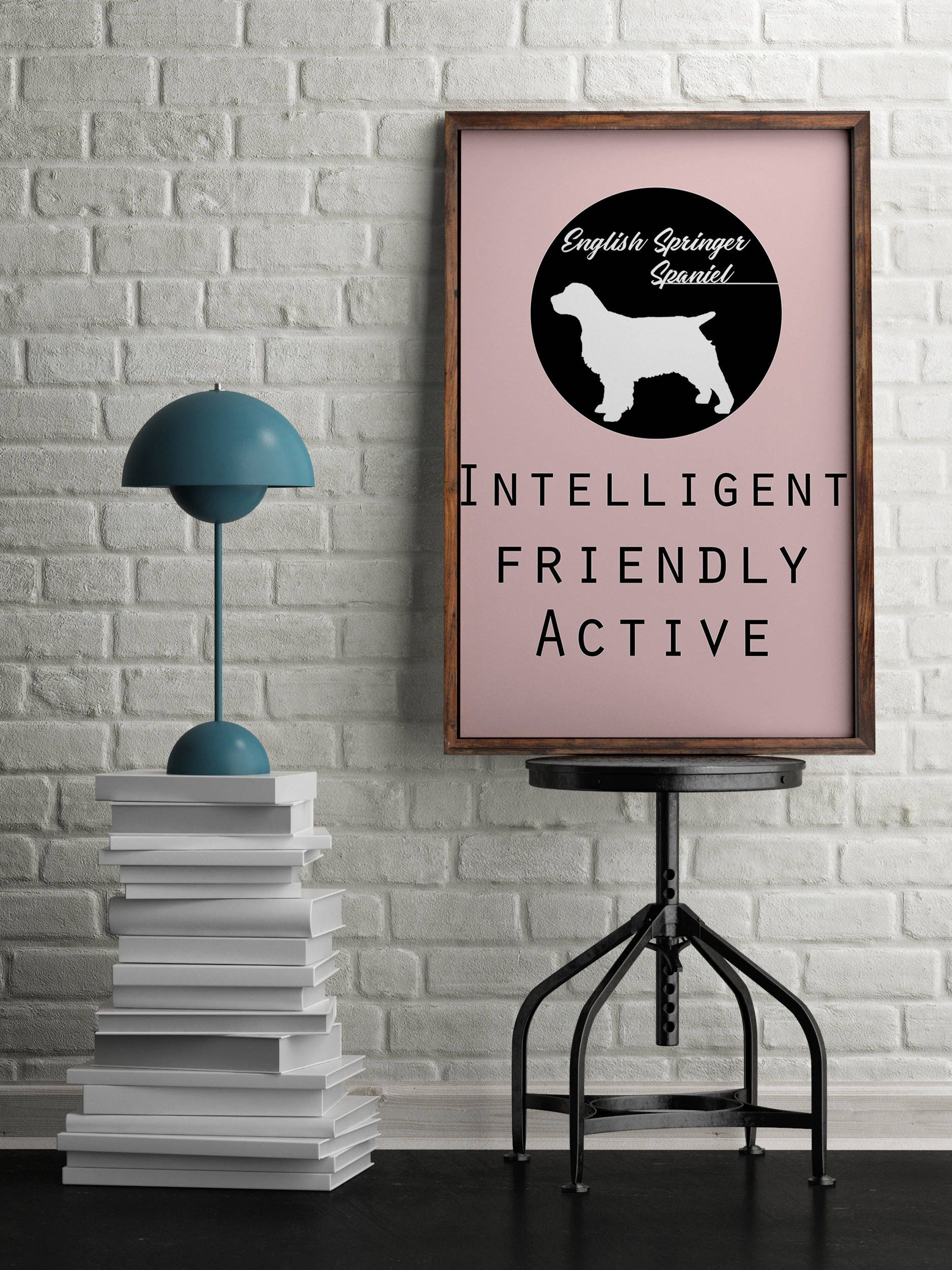 English Springer Spaniel  dog Art Print BLUE OR PINK