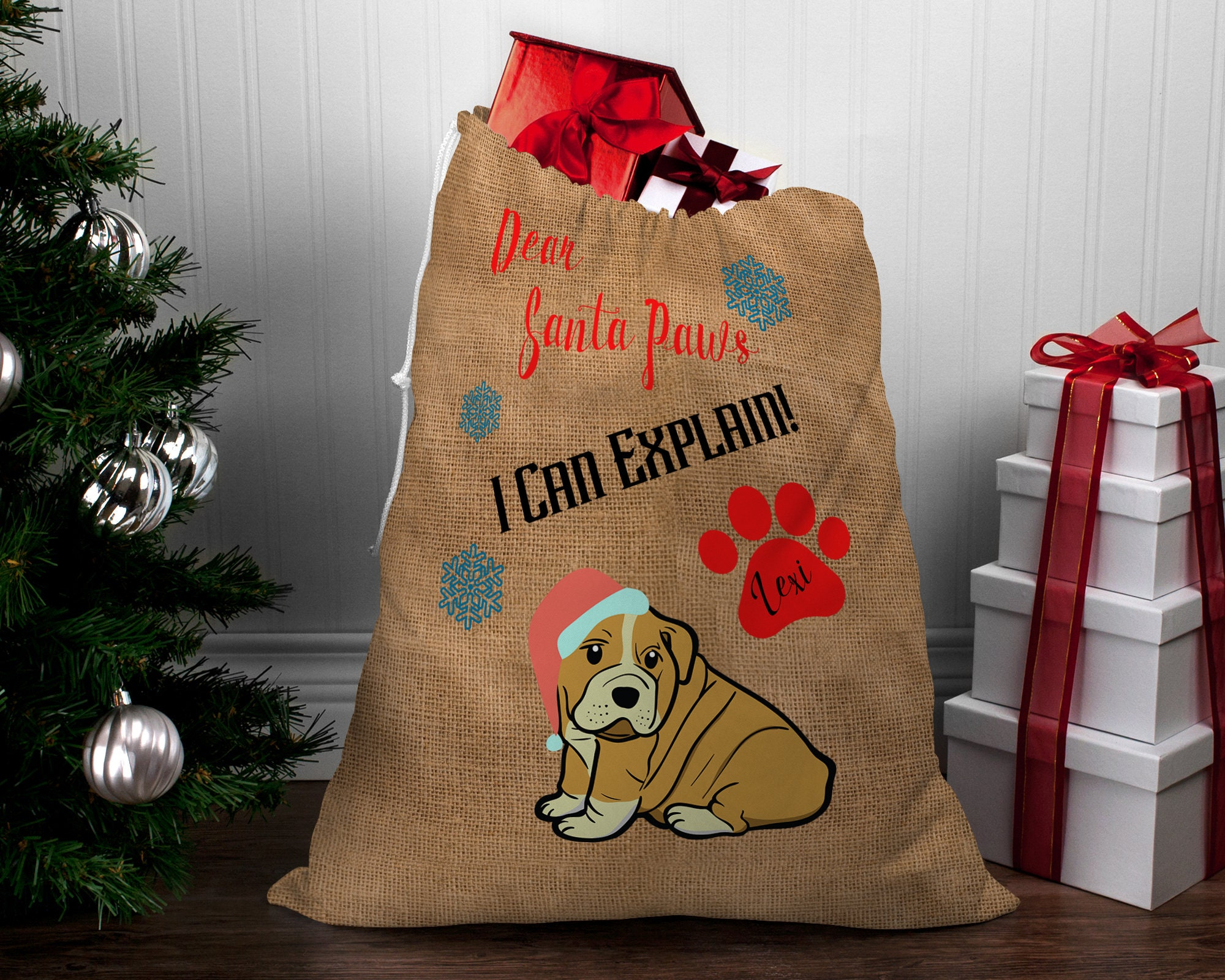 LARGE Personalized Hessian Santa Paws Sack CUSTOM NAME