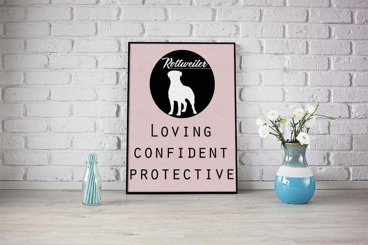 Rottweiler dog Art Print BLUE OR PINK