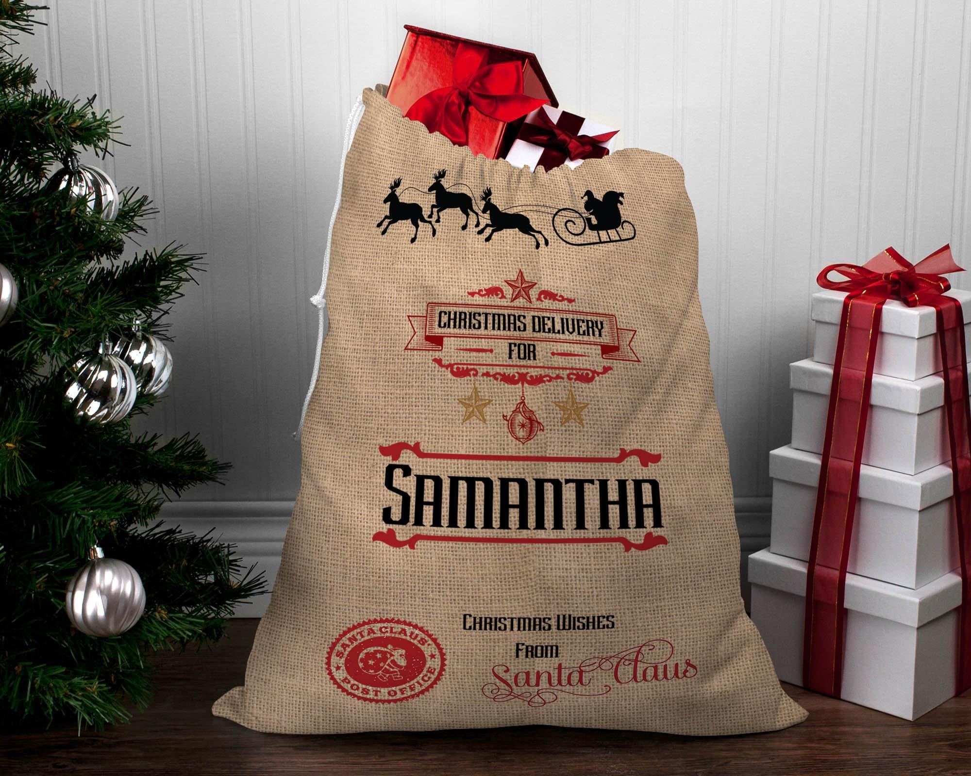 LARGE Personalized Hessian Santa Sack CUSTOM NAME