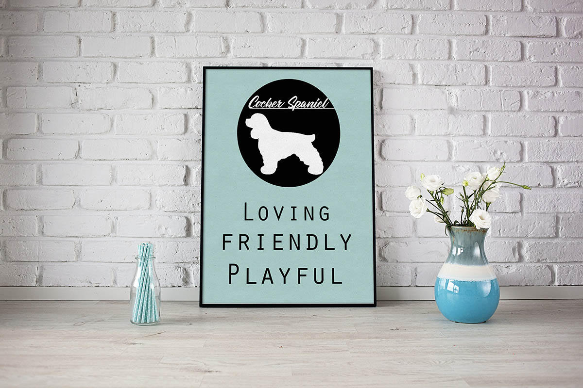 Cocker Spaniel dog Art Print BLUE OR PINK