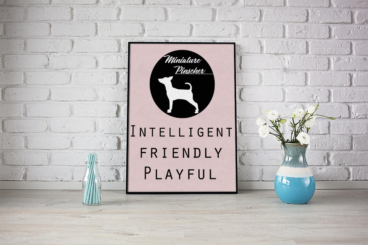 Miniature Pinscher dog Art Print BLUE OR PINK