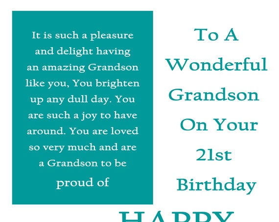 Grandson 21 Birthday Card with removable laminate