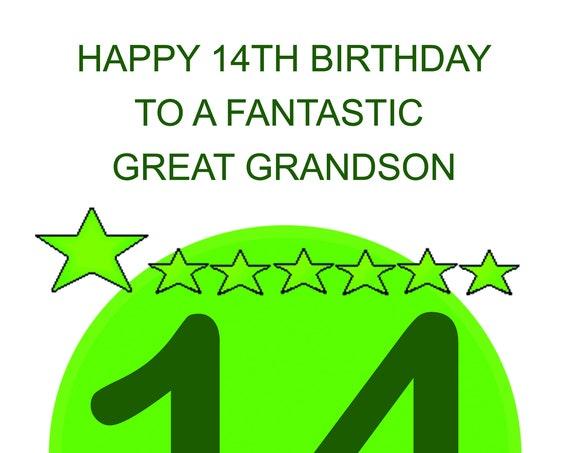 Great Grandson 14th Birthday Card