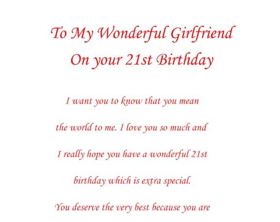 Girlfriend 21st Birthday Card