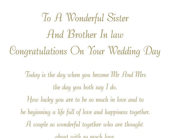 Sister & Brother in Law Wedding Card
