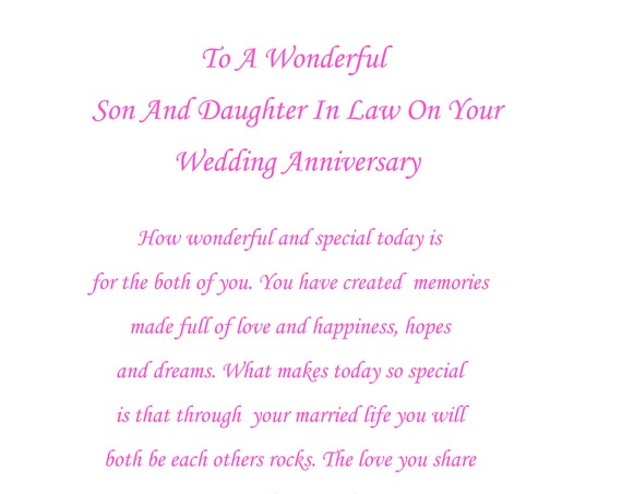 Son & Daughter in Law Anniversary Card