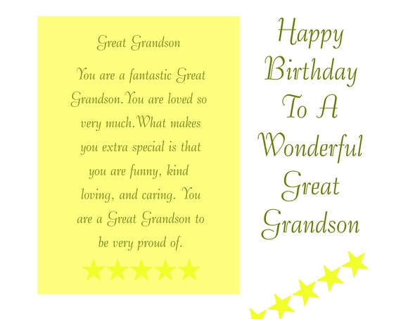 Great Grandson Birthday Card with removable Laminate