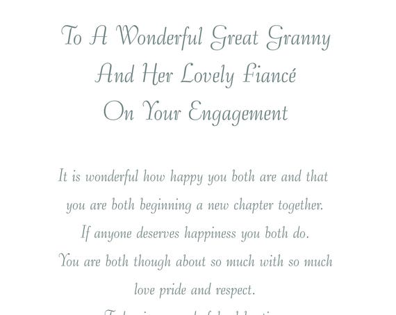 Great Granny & Fiance Engagement Card