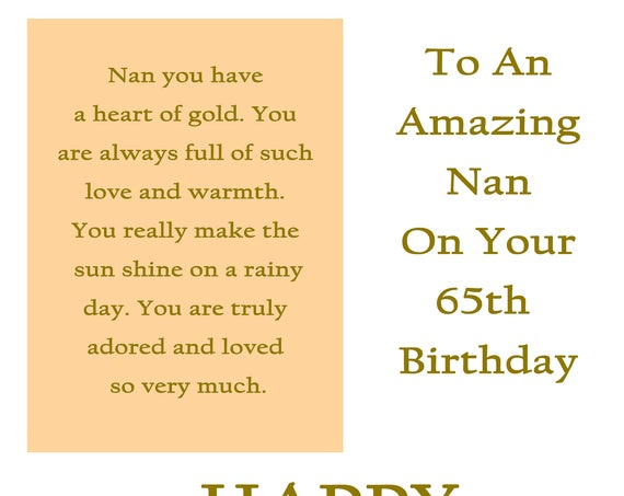 Nan 65 Birthday Card with removable laminate