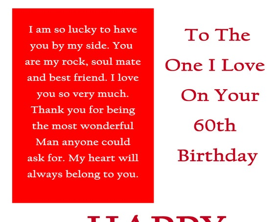 One I Love 60 Birthday Card with removable laminate