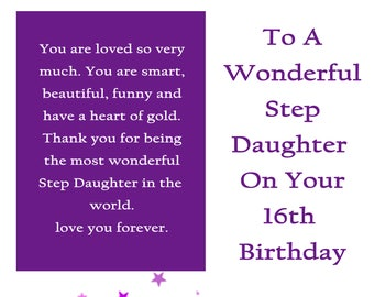 Step Daughter 16 Birthday Card With Removable Laminate