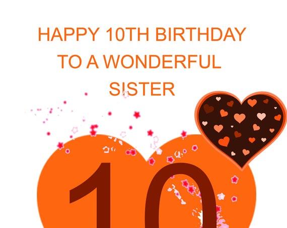 Sister 10th Birthday Card