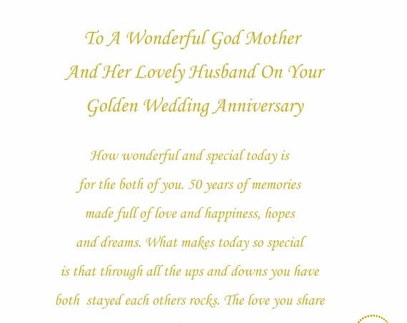 God Mother & Husband Golden Anniversary Card