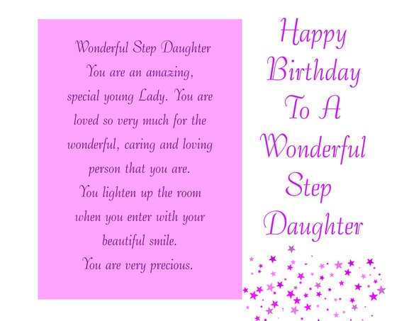 Step Daughter Birthday Card with removable laminate
