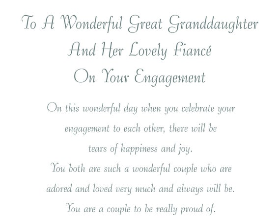 Great Granddaughter & Fiance Engagement Card