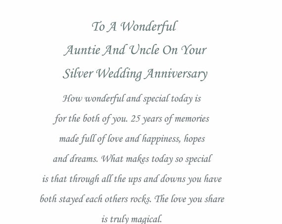Auntie & Uncle Silver Anniversary Card