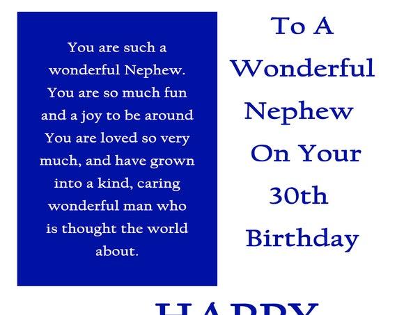 Nephew 30 Birthday Card with removable laminate