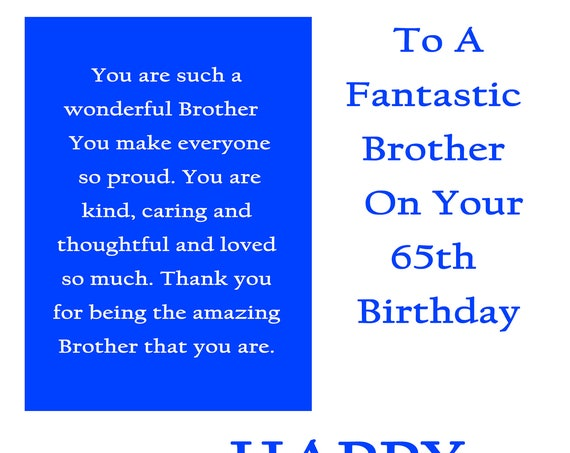 Brother 65 Birthday Card with removable laminate