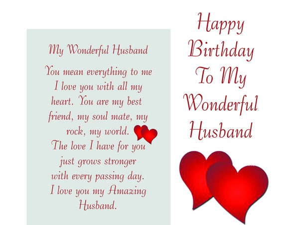 Husband Birthday Card with removable laminate