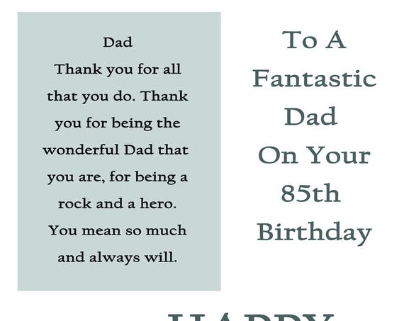Dad 85 Birthday Card with removable laminate