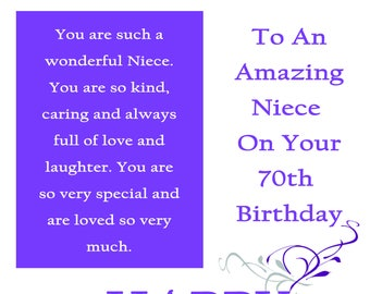 Niece 70 Birthday Card with removable laminate