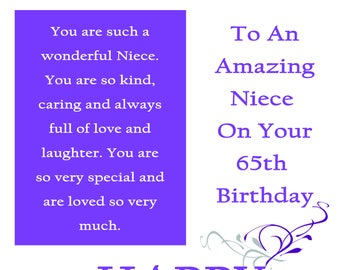 Niece 65 Birthday Card with removable laminate