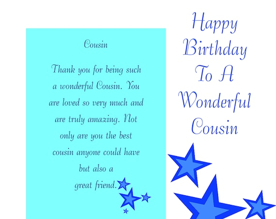 Cousin Birthday Card with removable laminate Male