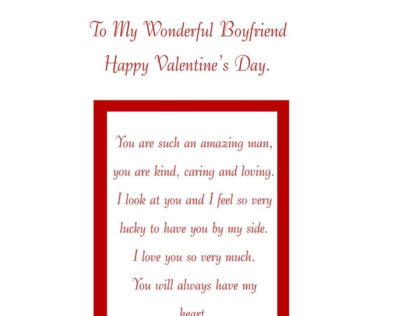 Boyfriend Valentines card with removable laminate