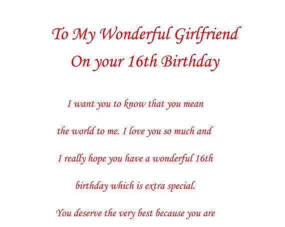 Girlfriend 16th Birthday Card
